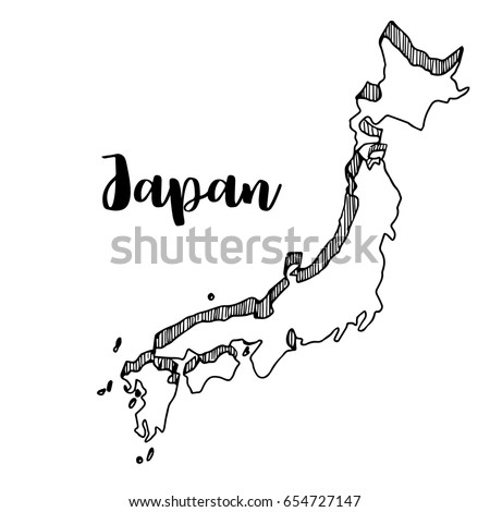 Black Vector Drawing Map Japan Stock Vector Shutterstock - Japan map drawing