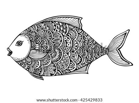 hand drawn ornate doodle graphic black and white fish vector illustration for t shirts
