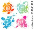 Hand drawn paint banks and tubes over splashing background - stock vector