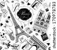 hand-drawn Paris symbols seamless pattern - stock vector
