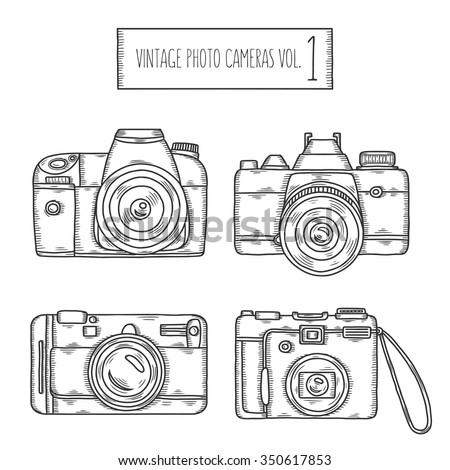 Hand drawn photo cameras set. Vector vintage illustration. Pen graphic design elements for multiple purposes. Photography emblems, badges, logos, signs.