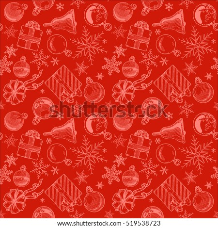 Hand drawn red seamless pattern with Christmas elements. Xmas and winter holidays. Vector illustration in ink hand drawn style.