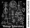 Hand drawn science beautiful vintage lab icons sketch set . Vector illustration. Back to School. Doodle, equipment. Chalk on blackboard. Biology, geology, alchemy, chemistry, magic. Tattoo elements. - stock vector