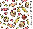 hand drawn seamless pattern of colorful candies - stock vector
