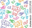 hand drawn seamless pattern with funny cats - stock vector