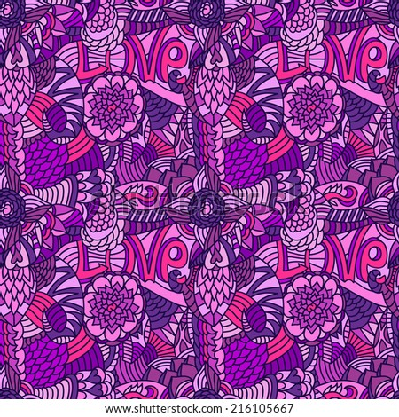 Hand drawn seamless pattern with letters, flowers, leaves Seamless pattern can be applied on different surfaces such as wallpaper, web page background, clothes and other fabrics, phone or tablet cases