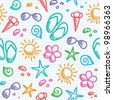hand drawn seamless pattern with summer symbols - stock