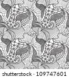 Hand drawn seamless pattern with various elements, flowers, waves - stock vector