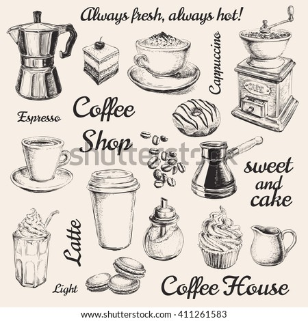 Hand Drawn Set Coffee Vector Illustration Breakfast