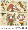 Hand drawn set of drunk Santa Claus and friends - stock vector