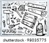 Hand drawn set of tools for Men - stock vector