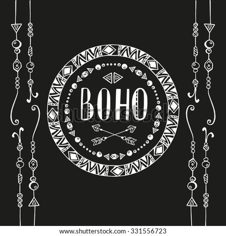 Hand drawn sign in boho style with arrows and beads. Vector illustration isolated on white.