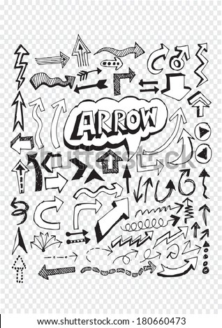 Hand drawn sketch arrow collection for your design