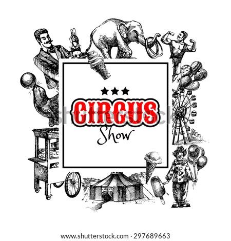 hand drawn sketch circus amusement vector stock vector