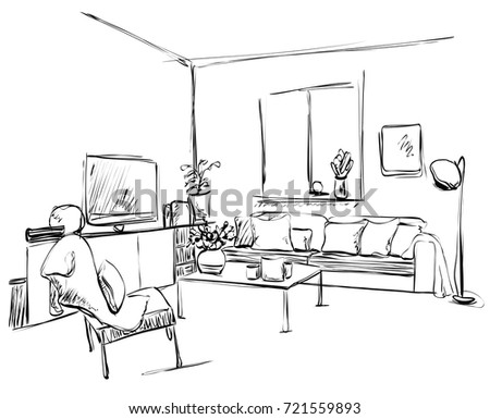 Hotel room king size bed interieur stock vector 425661988 - What size table lamp for living room ...