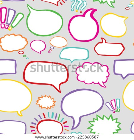 Hand Drawn Speech Bubbles Vector Seamless Pattern in Comic Style