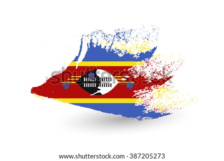 Hand drawn style flag of Swaziland. Brush painted illustration with a grunge effect.