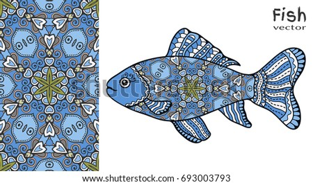 hand drawn stylized sea fish and colorful doodle seamless pattern cartoon animal collection isolated - Colorful Fish Book