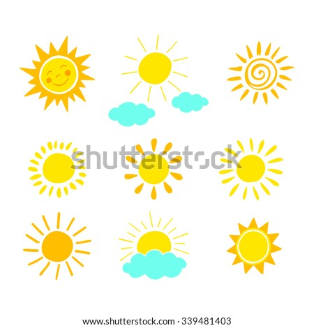 Hand drawn sun icon set. Vector illustration.