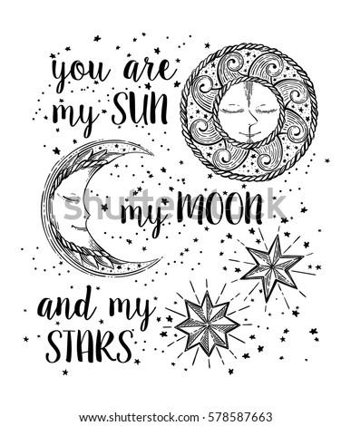 Hand Drawn Sun Moon Stars Vintage Stock Vector 573934228