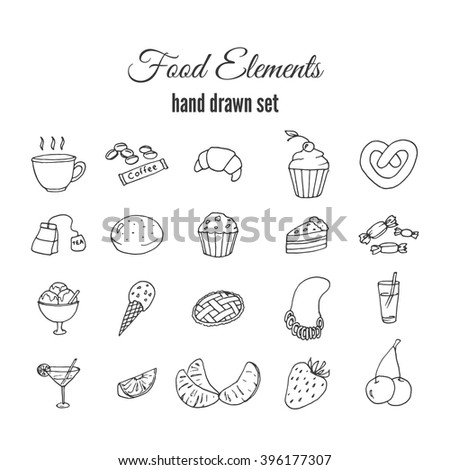 Hand drawn sweet pastry set. Bakery vector elements sketch. Excellent for creating your own menu design. Fruits vector doodles.