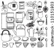 Hand drawn tea related symbols - stock vector