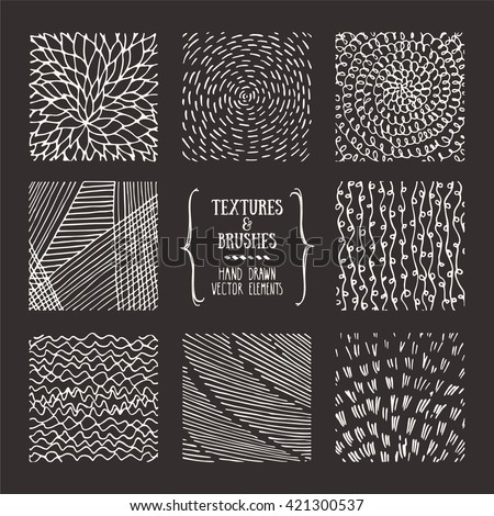 Hand drawn textures and brushes. Artistic collection of design elements: brush strokes, paint dabs, wavy lines, abstract backgrounds, patterns made with ink. Isolated vector.
