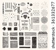 Hand drawn textures and brushes. Artistic collection of vector design elements: art brushes with plants, brush strokes, paint dabs, patterns made with ink. Pattern brushes are included in EPS. - stock vector
