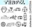 Hand drawn travel icon, vacation, trip - stock vector