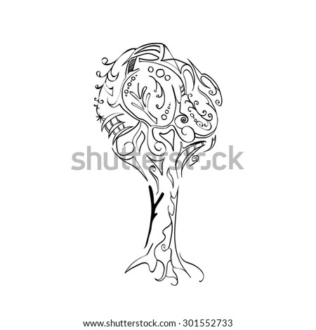 Hand drawn tree with ornaments