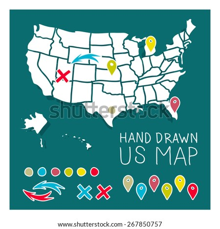 hand drawn us map travel poster vector ilration