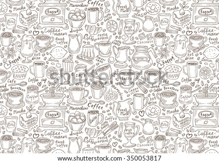 Hand drawn vector doodle set coffee. Vector illustration