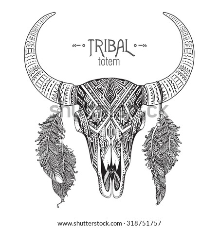 Hand Drawn Vector Illustration Bull Skull Stock Vector