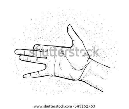 Hand drawn vector illustration or drawing of a hand symbol representing a dog head