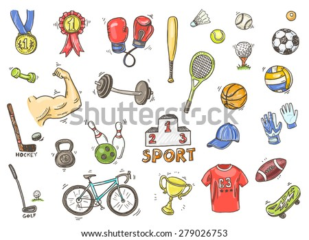 Hand drawn vector illustration set of sports sign and symbol doodles elements.