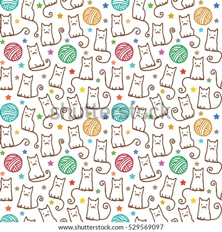 Hand drawn vector seamless pattern with cats and wool claws 1