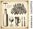 Hand drawn vector set - wine and winemaking  - stock