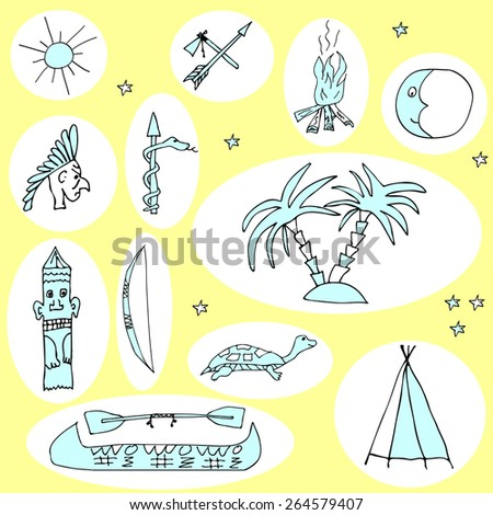 Hand drawn vector set with funny cartoon travel elements and objects on color background. Vector file organized in groups for easy editing