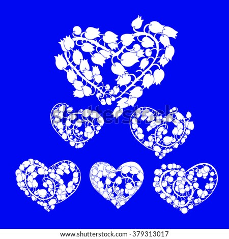 hand drawn vector set with white lilly flowers heart forms