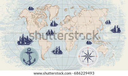 Hand drawn vector world map compass vectores en stock 688216144 hand drawn vector world map with compass anchor and sailing ships in vintage style gumiabroncs Choice Image