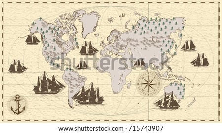 Hand drawn vector world map compass vectores en stock 715743904 hand drawn vector world map with compass anchor and sailing ships in vintage style gumiabroncs Choice Image