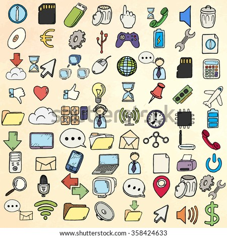 Hand drawn web and computer icons set.