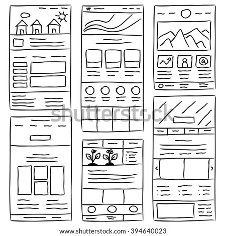 Hand drawn website layouts. doodle style design. Website layout doodle. Web page graphic template. UI kit sketch internet page. Portfolio webpage idea.Creative web design sketch.Wireframe page layout.