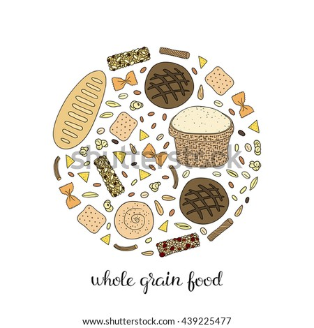 Hand Drawn Whole Grain Foods Composed In Circle Shape Bread Bagel Pasta