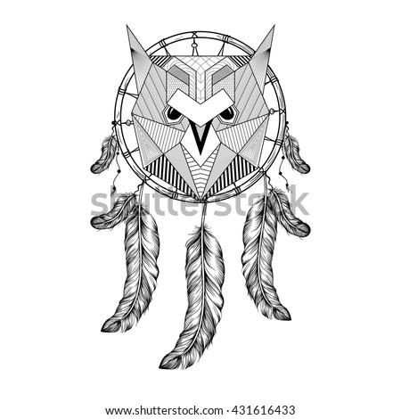 Dreamcatcher Owl Mandala Draw Stock Vector 555157303