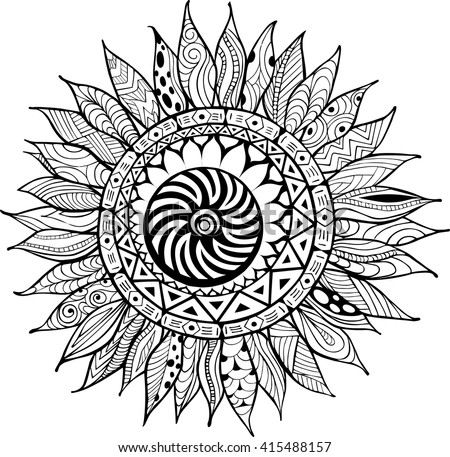Sunflower Mandala Pages Coloring Pages