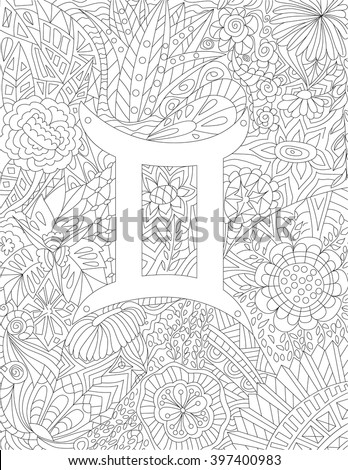 Geometric Art Coloring Book : Handdrawn zodiac sign virgo ethnic floral stock vector 381371641