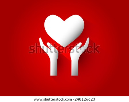 Hand give Heart Design Vector.