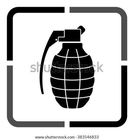 hand grenade white vector icon stock vector 562777405 shutterstock rh shutterstock com