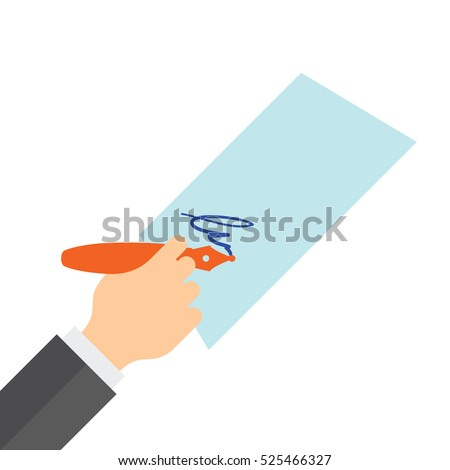 Hand holding a fountain pen and sign on paper. Flat vector illustration.